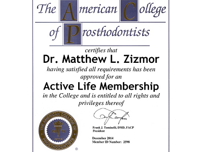 The American College of Prosthodontists Active Lifetime Membership Certificate