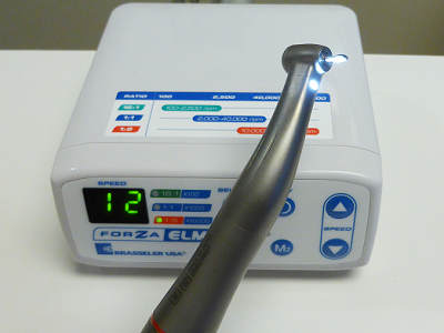 Electric handpiece runs smoother and quieter than traditional air driven drills